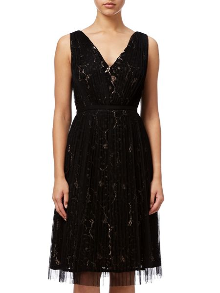 Adrianna Papell Two Tone Lace Dress