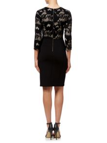Adrianna Papell 3/4 Sleeve Scuba & Lace Dress