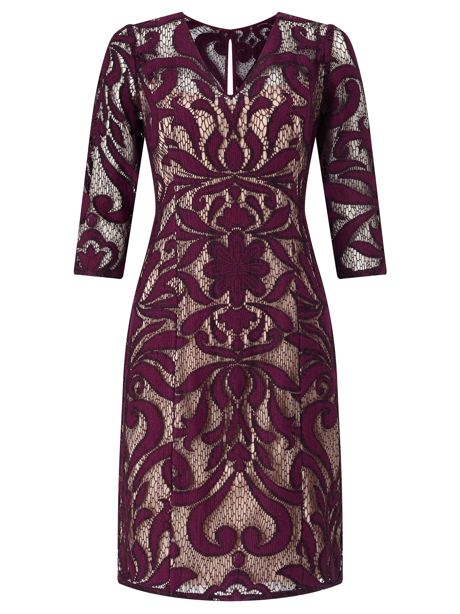 Adrianna Papell 3/4 sleeve lace dress, Multi-Coloured