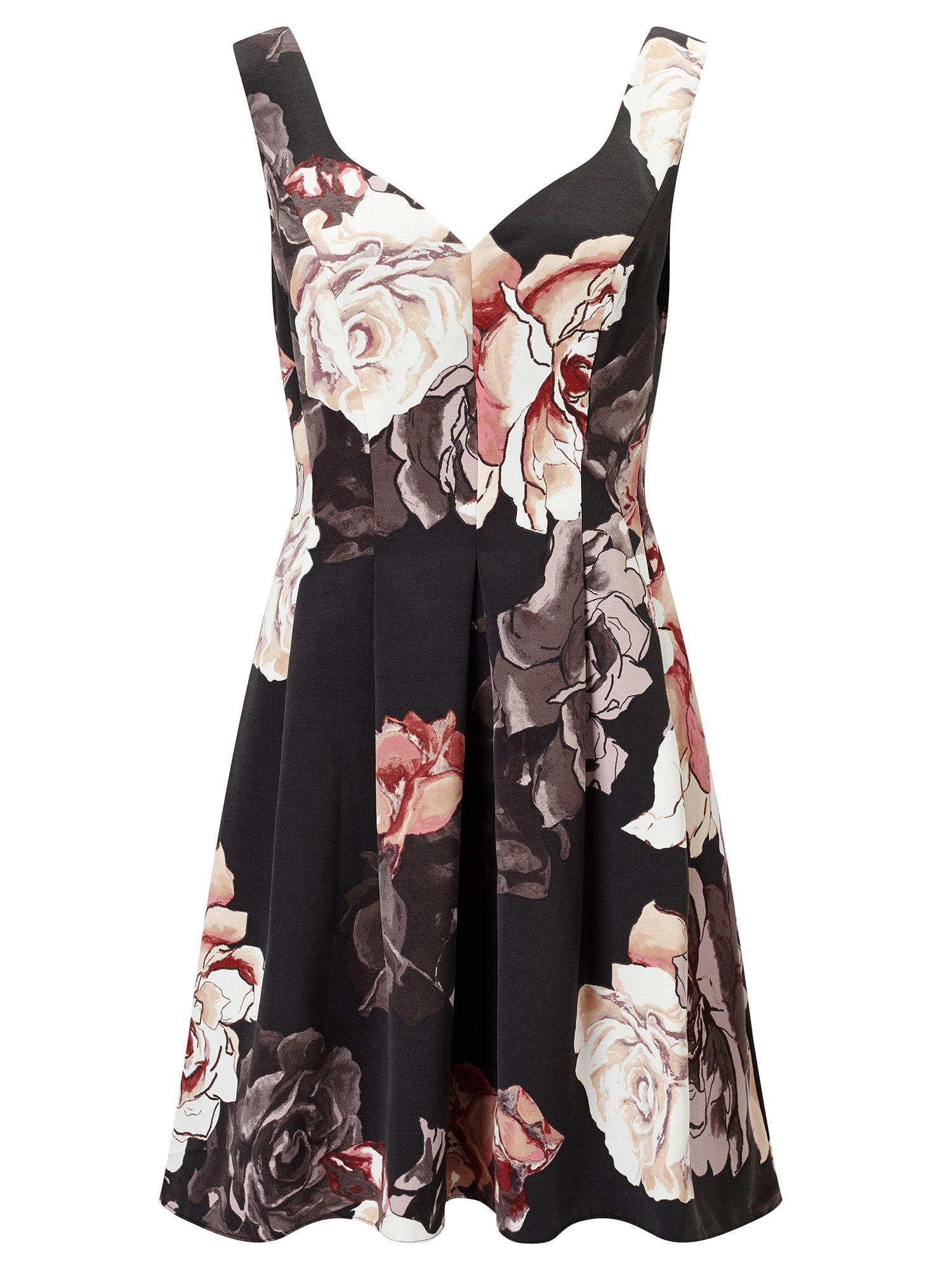 Adrianna Papell Floral Fit And Flare Dress Champagne