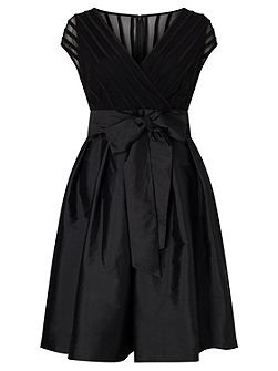 C Sleeve Taffeta Fit And Flare Dress