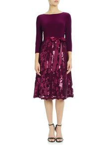 Adrianna Papell Quarter Sleeve Fit And Flare Sequin Cocktail Dres