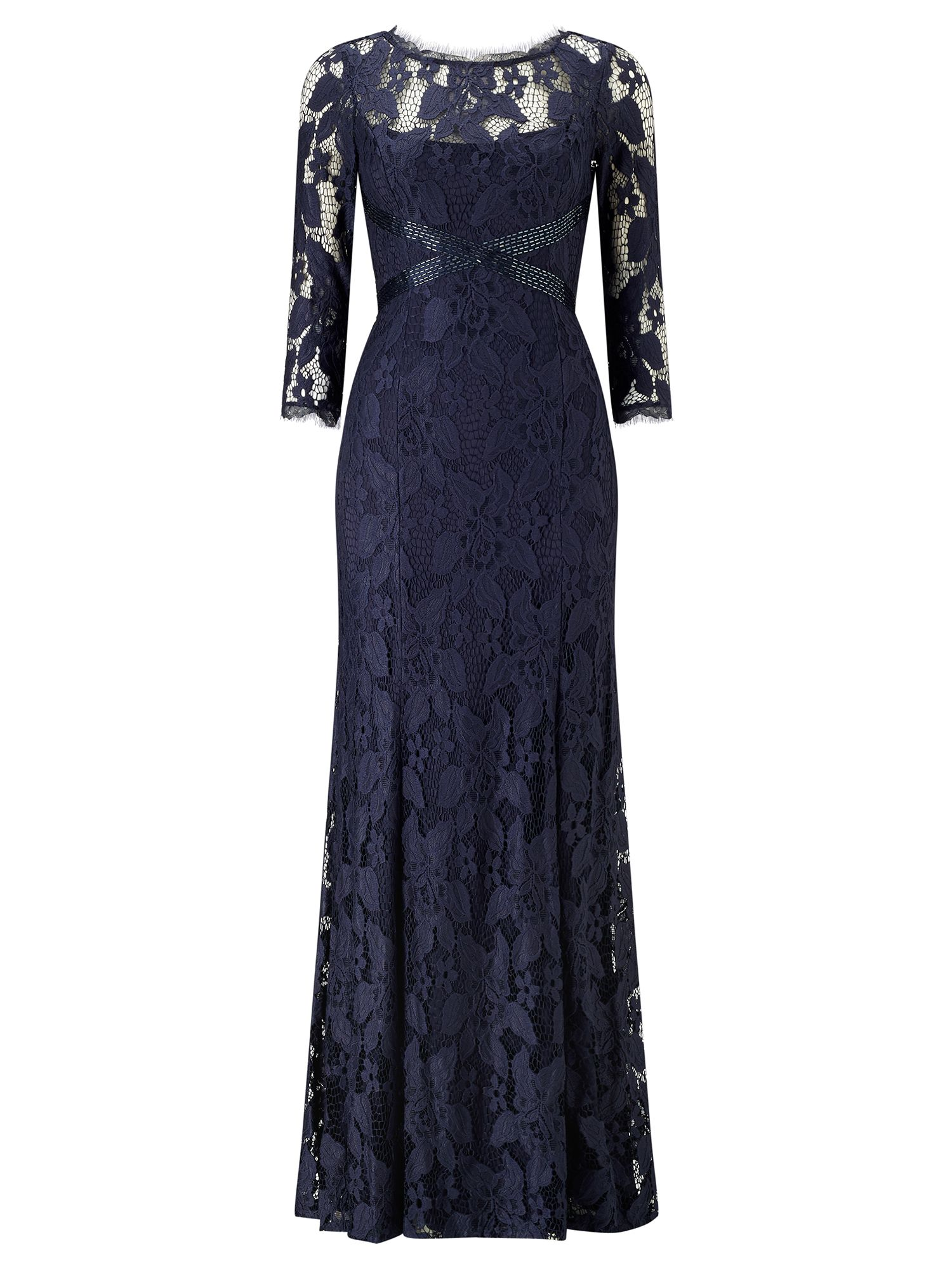 Adrianna Papell Long sleeve lace evening dress Navy