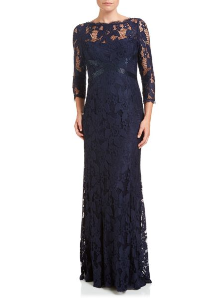 Adrianna Papell Long sleeve lace evening dress