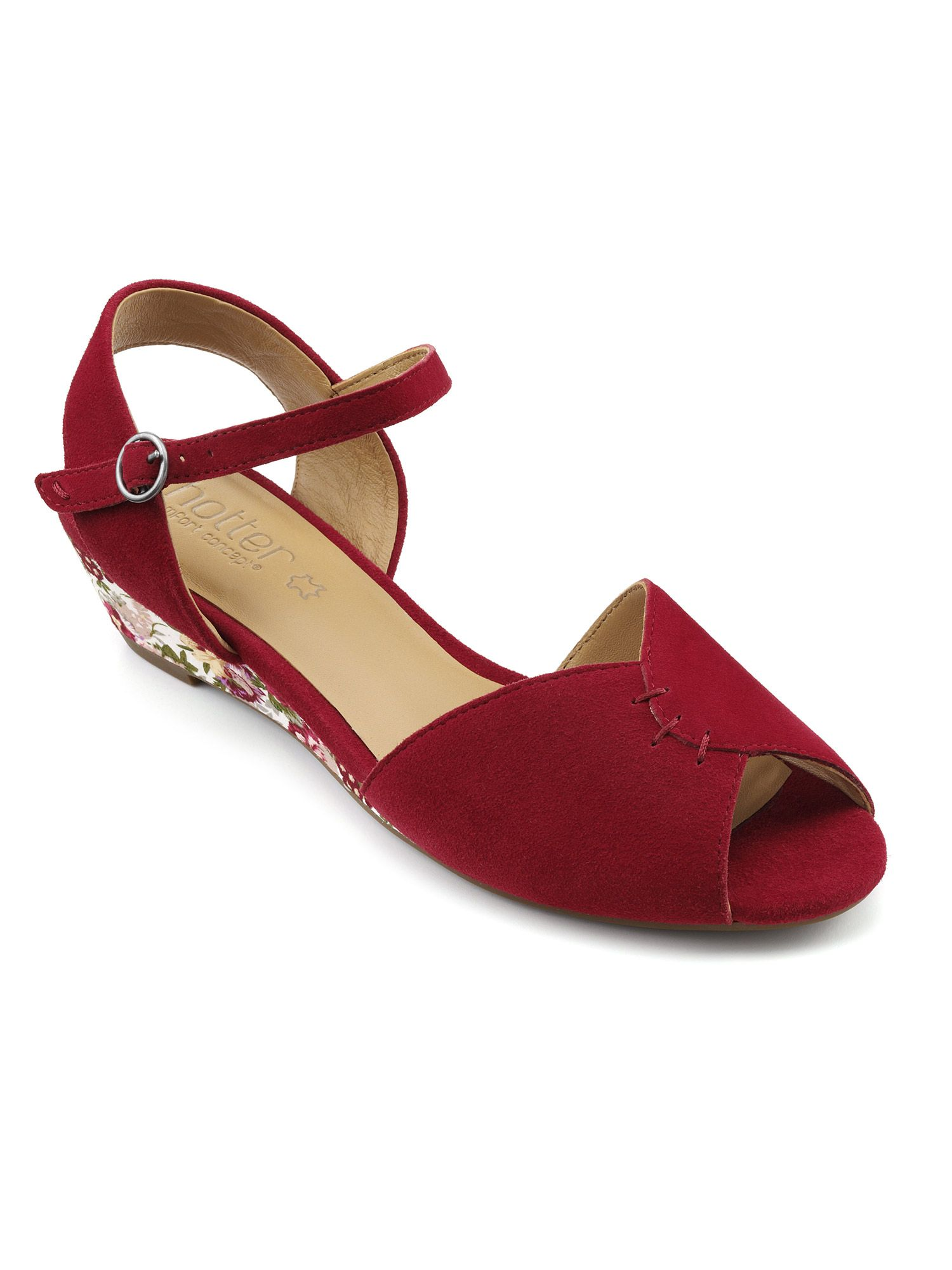 Hotter Hallie Low Wedged Heeled Sandal, Red