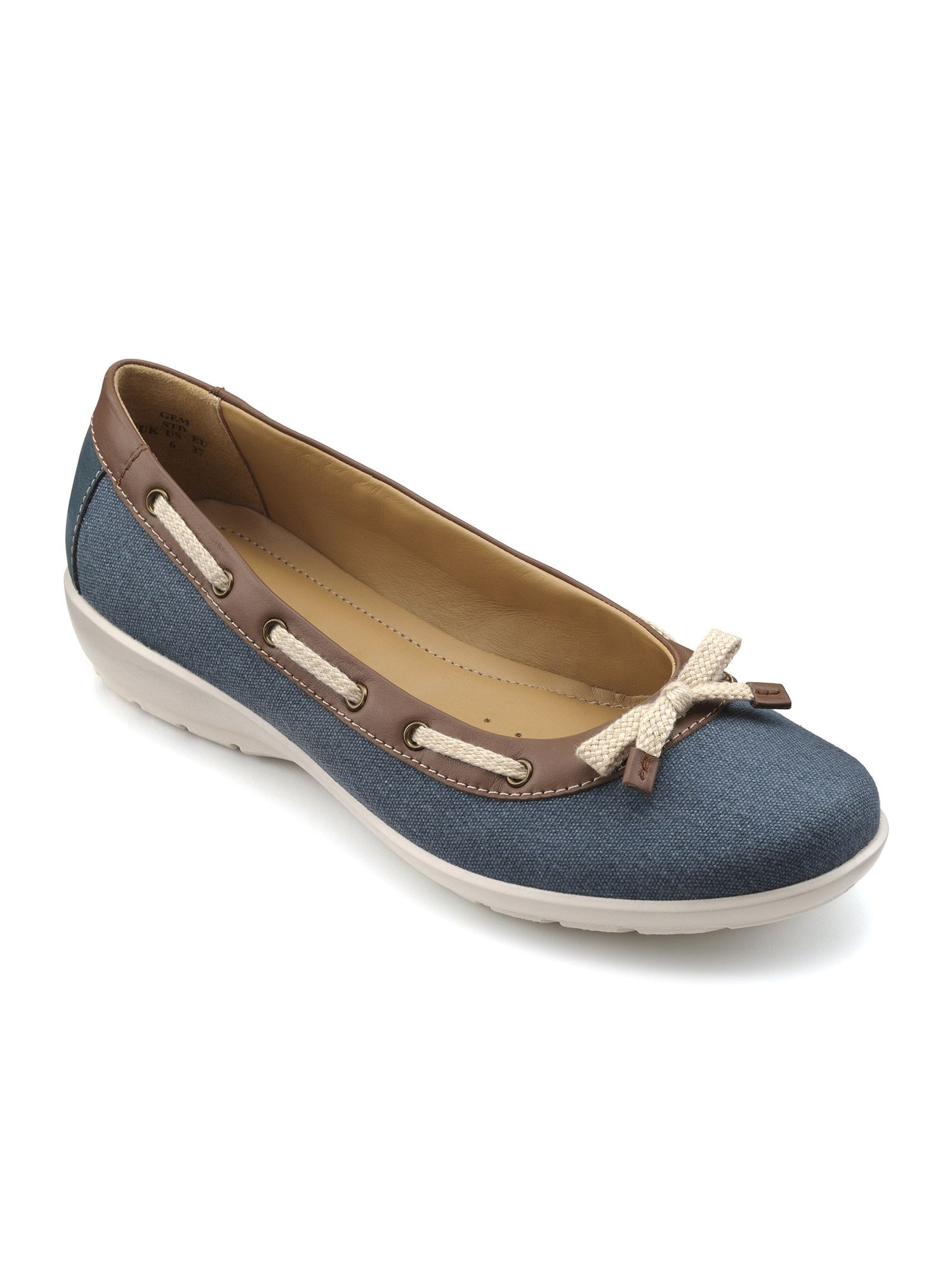 Hotter Gem Ladies Ballerina Style Shoe, Blue