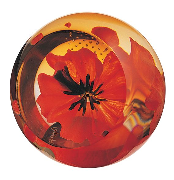 Glass red poppy paperweight - CLICK FOR MORE INFORMATION