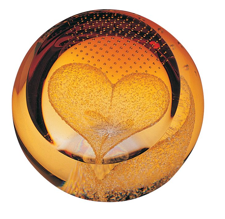 Glass heart of gold paperweight - CLICK FOR MORE INFORMATION