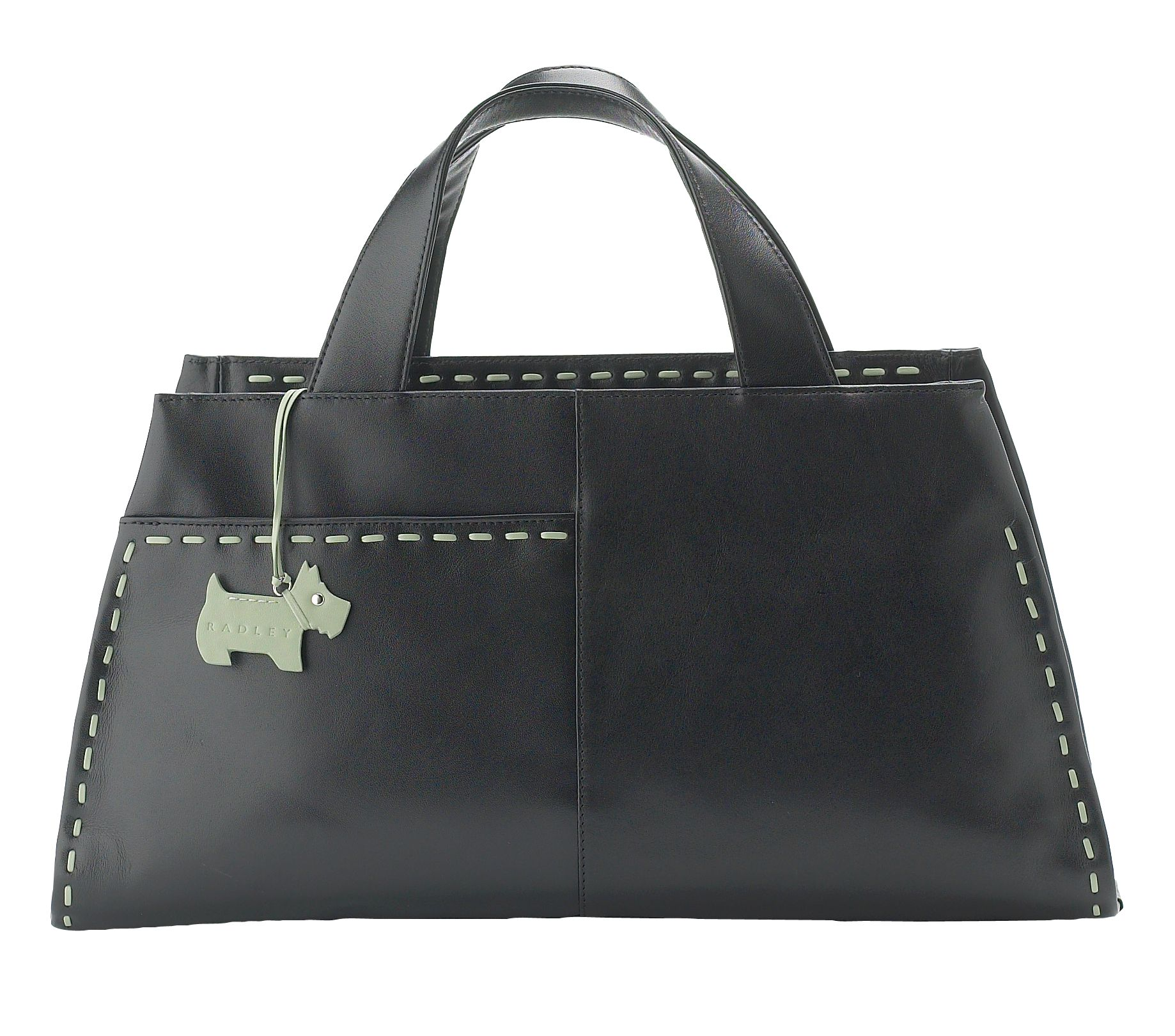Running Stitch large leather hand held tote