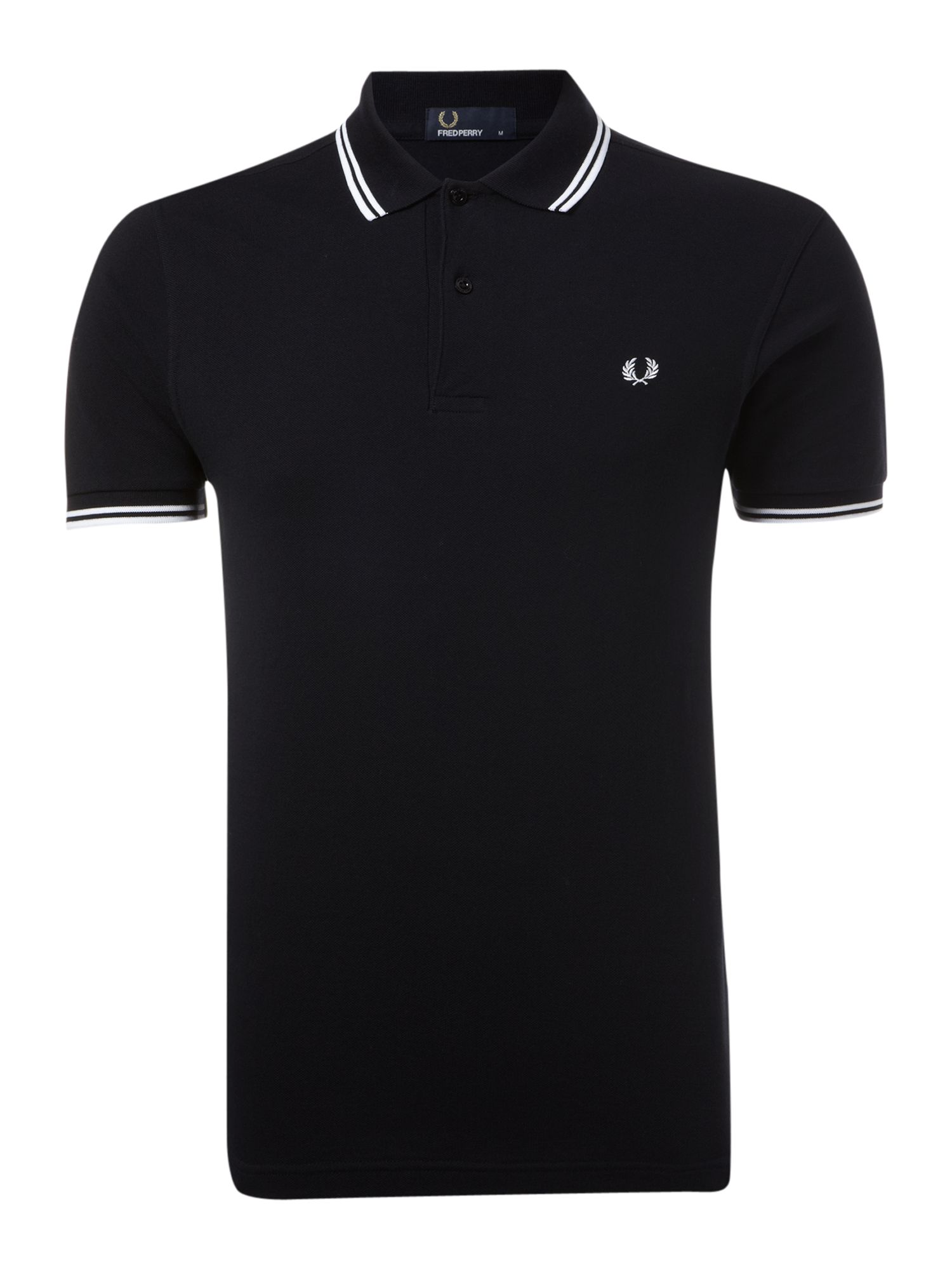 Mens Fred Perry ShortSleeved Twin Tipped Polo Shirt Navy
