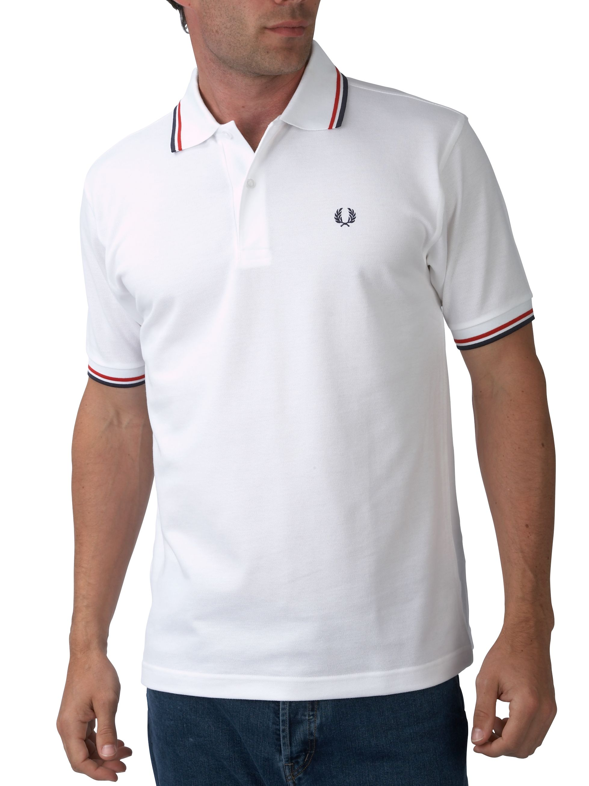 Mens Fred Perry ShortSleeved Twin Tipped Polo Shirt Off White