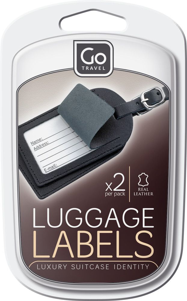 Go Travel Leather luggage labels assorted colours