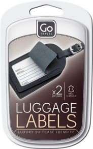 Go Travel Leather luggage labels, assorted colours