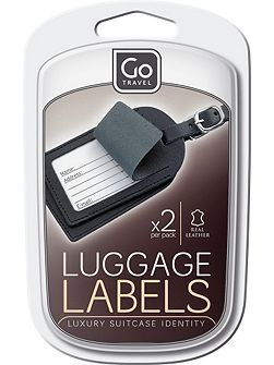 Leather luggage labels, assorted colours