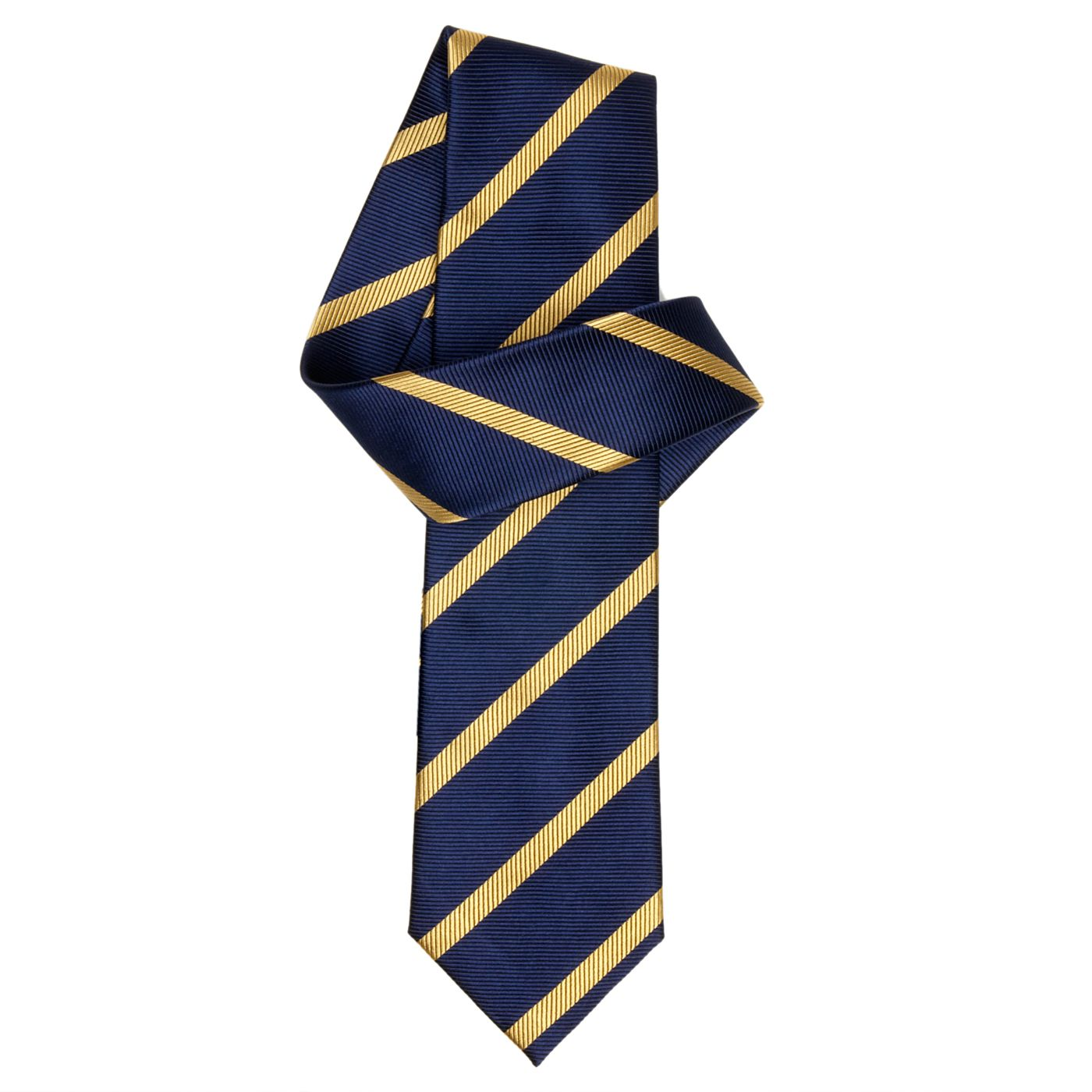 TM Lewin Navy And Yellow Herringbone Stripe Tie