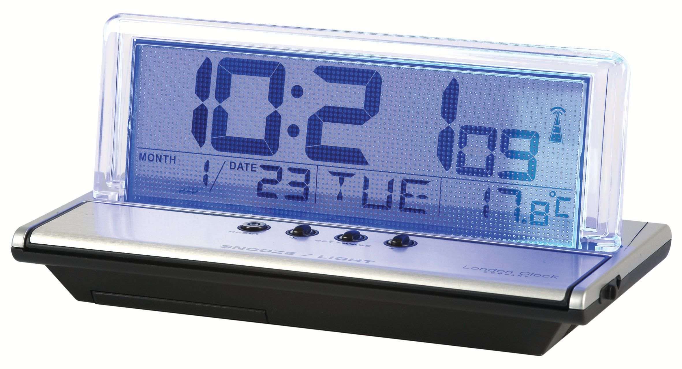 london clock radio controlled lcd bedside alarm review compare prices buy online. Black Bedroom Furniture Sets. Home Design Ideas