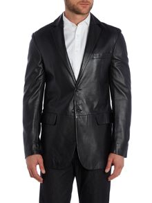 leather formal blazer