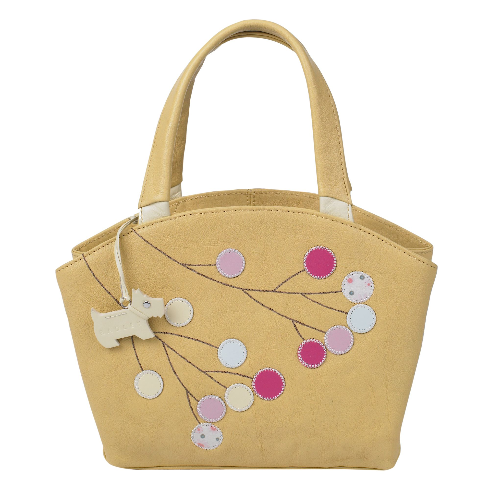Summer Berries small leather hand held tote bag