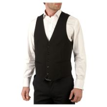 Kenneth Cole Formal single-breasted ultra black waistcoat