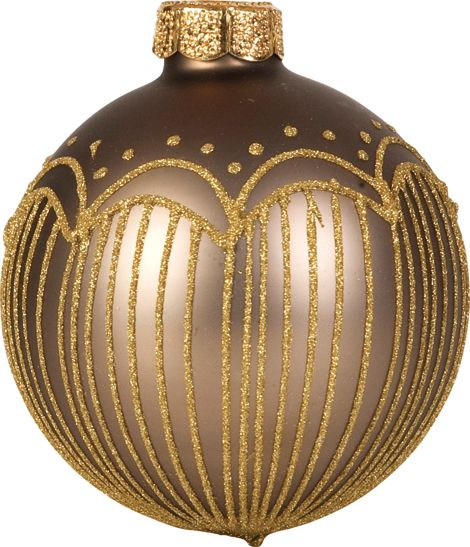 Linea Deco mink glitter striped bauble