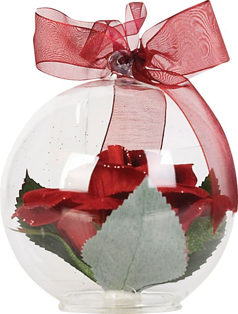 mystical red rose in glass ball