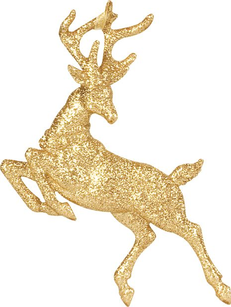 Linea Mystical soft gold leaping glitter reindeer