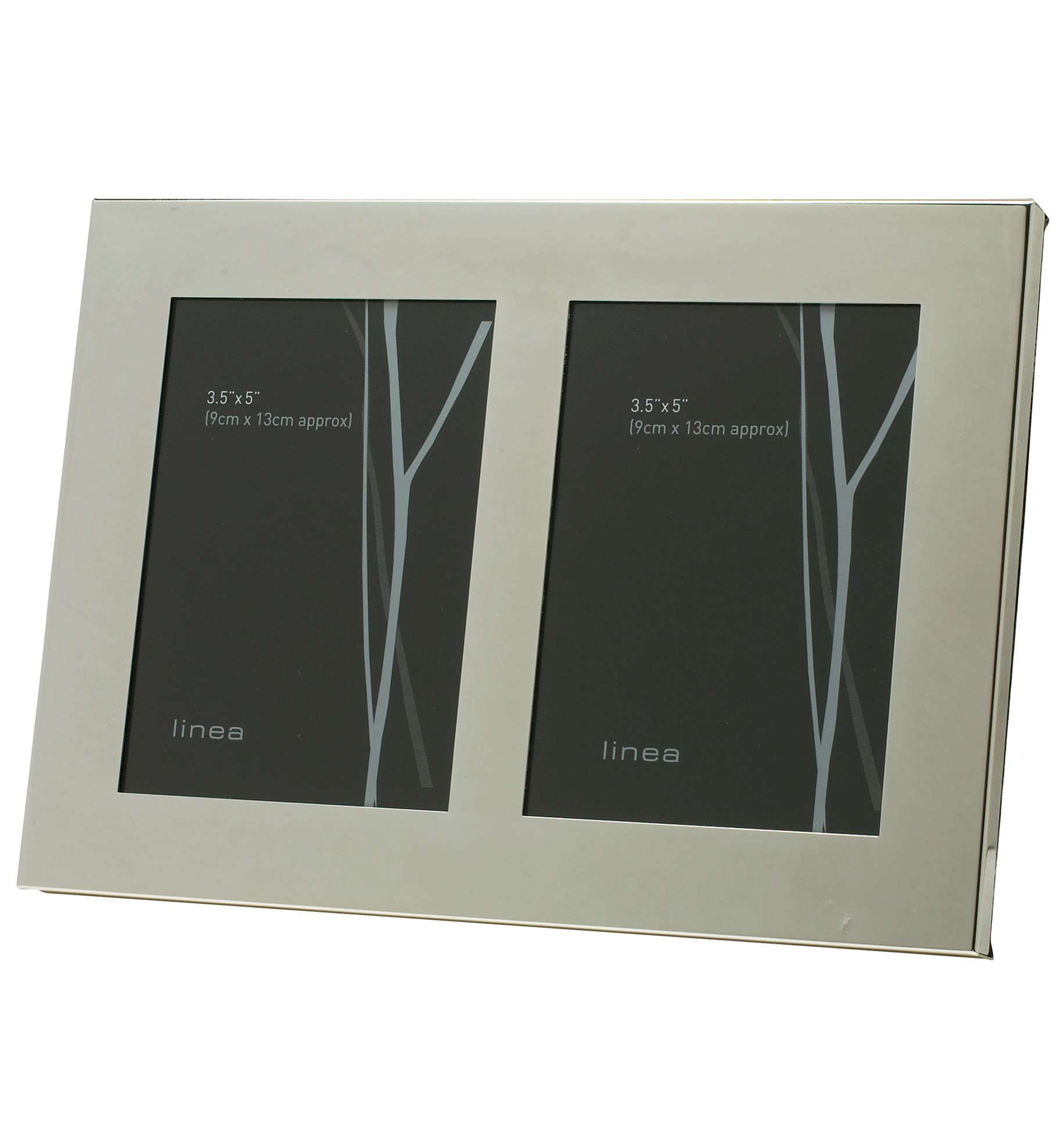 Double aperture modern silver plated photo frame
