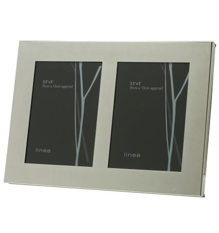 Linea Double aperture modern silver plated photo frame