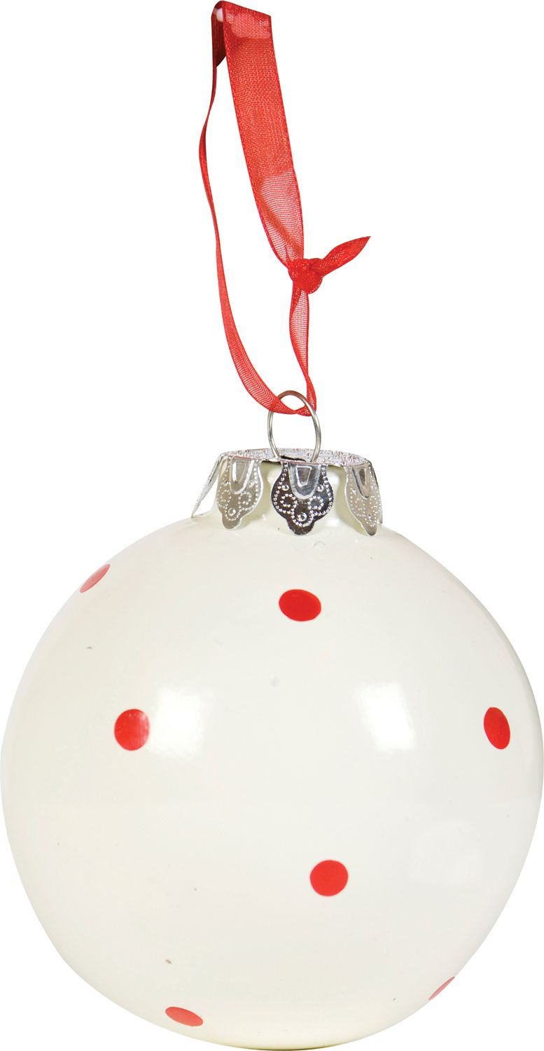 Linea Kraftwork dot white and red dolomite bauble