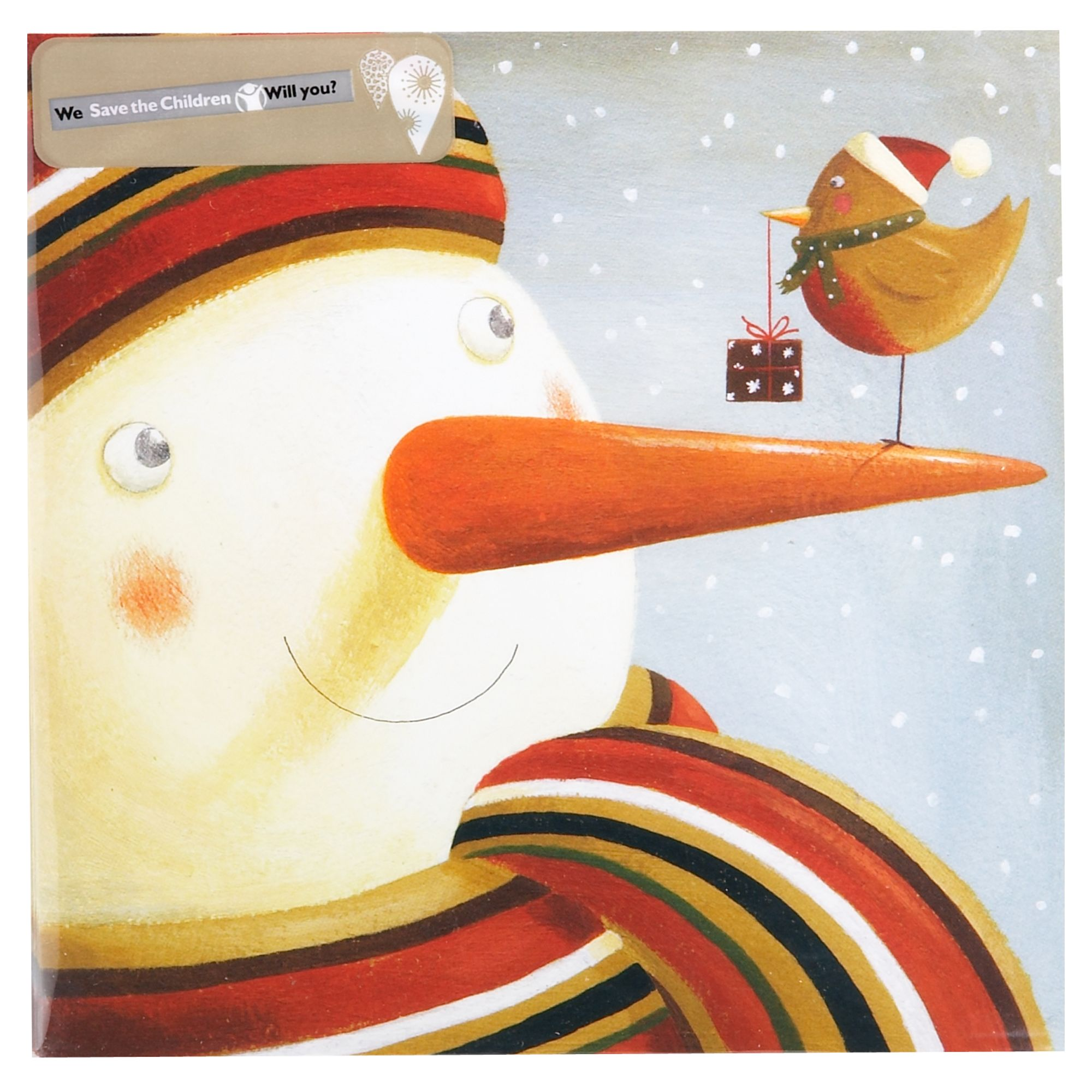 House of Fraser Snowman with robin Christmas cards