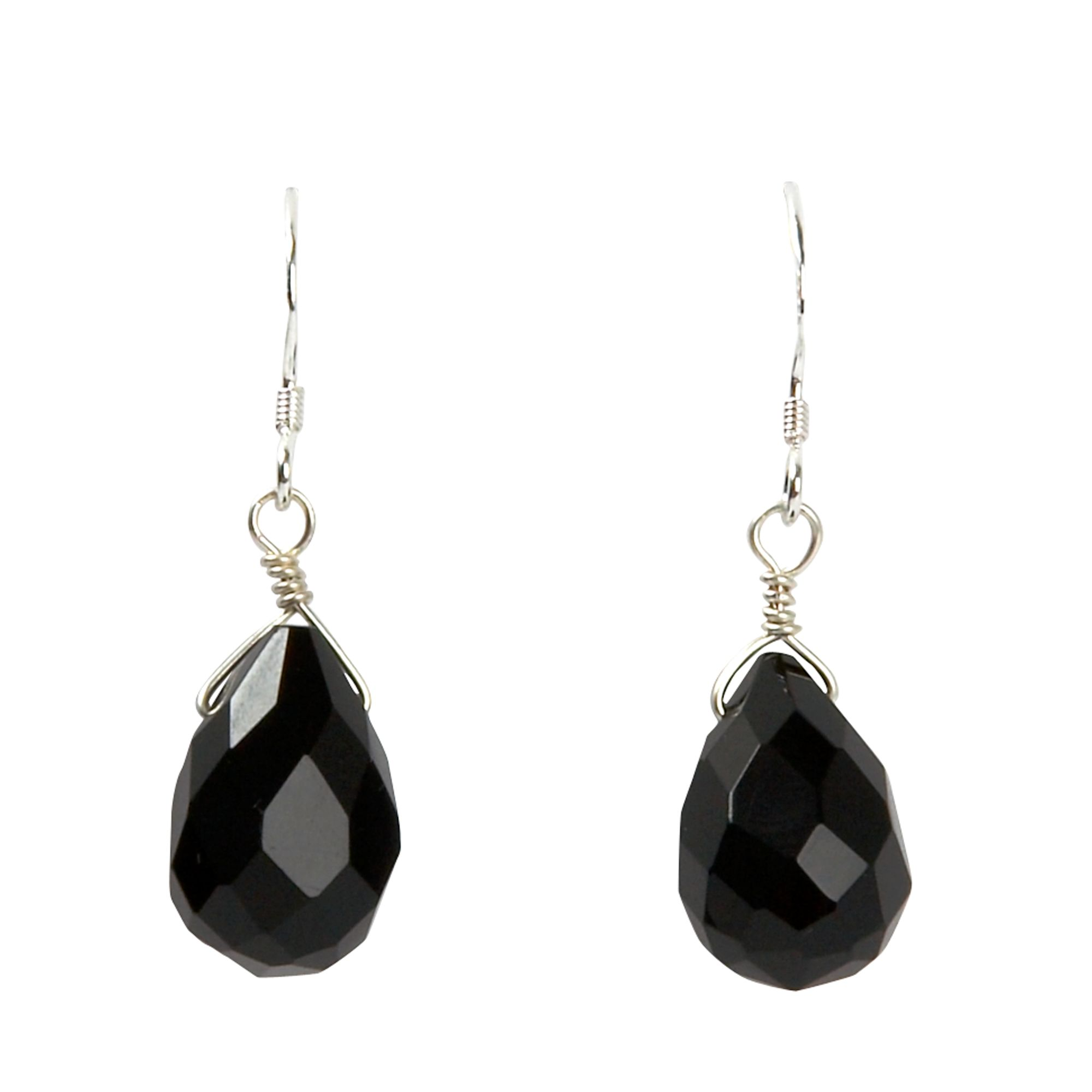 Agate small black agate faceted drop earrings