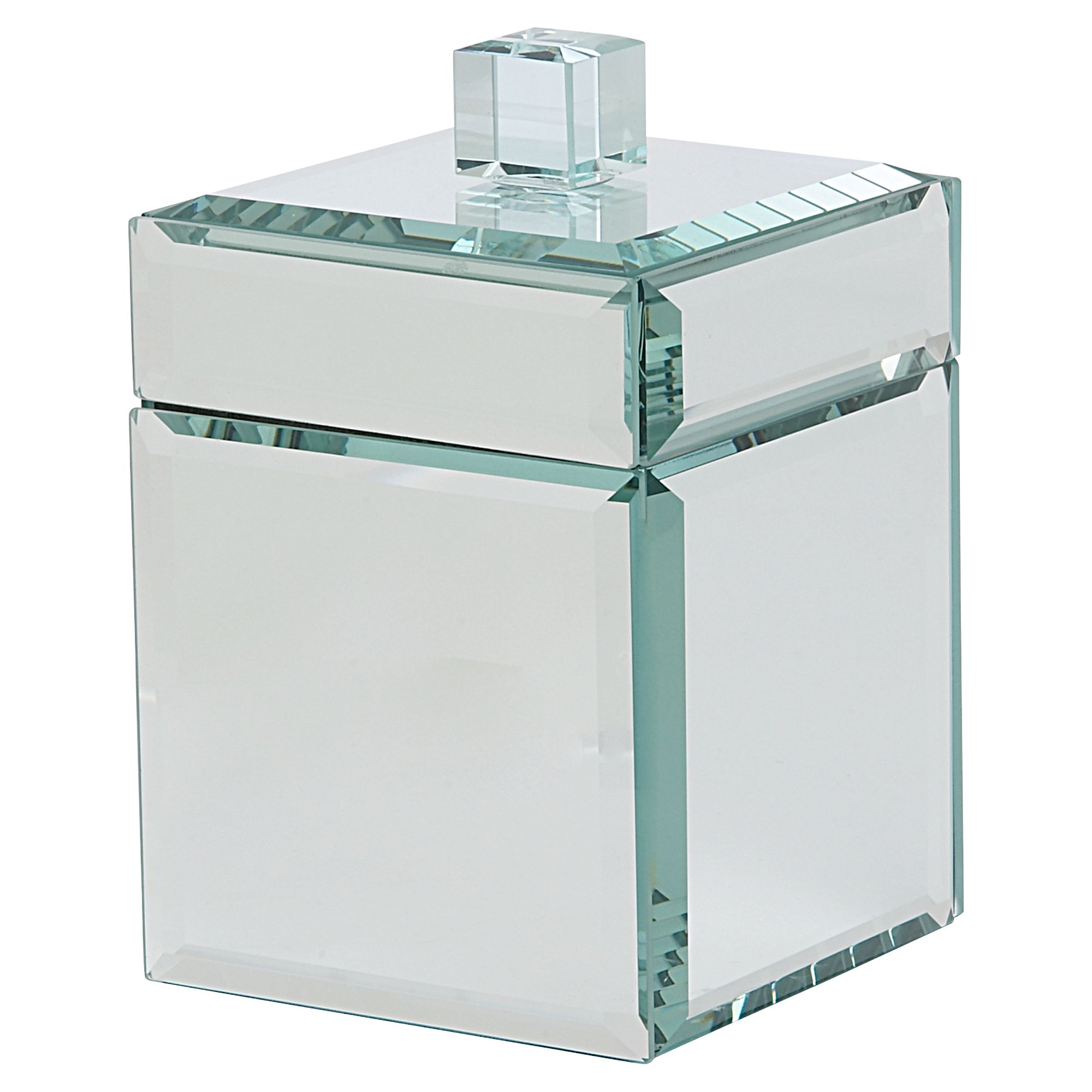 Linea mirrored cotton box review compare prices buy online for Mirrored bathroom accessories