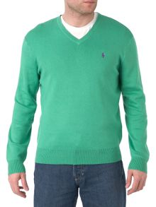 Long-sleeved V-neck jumper