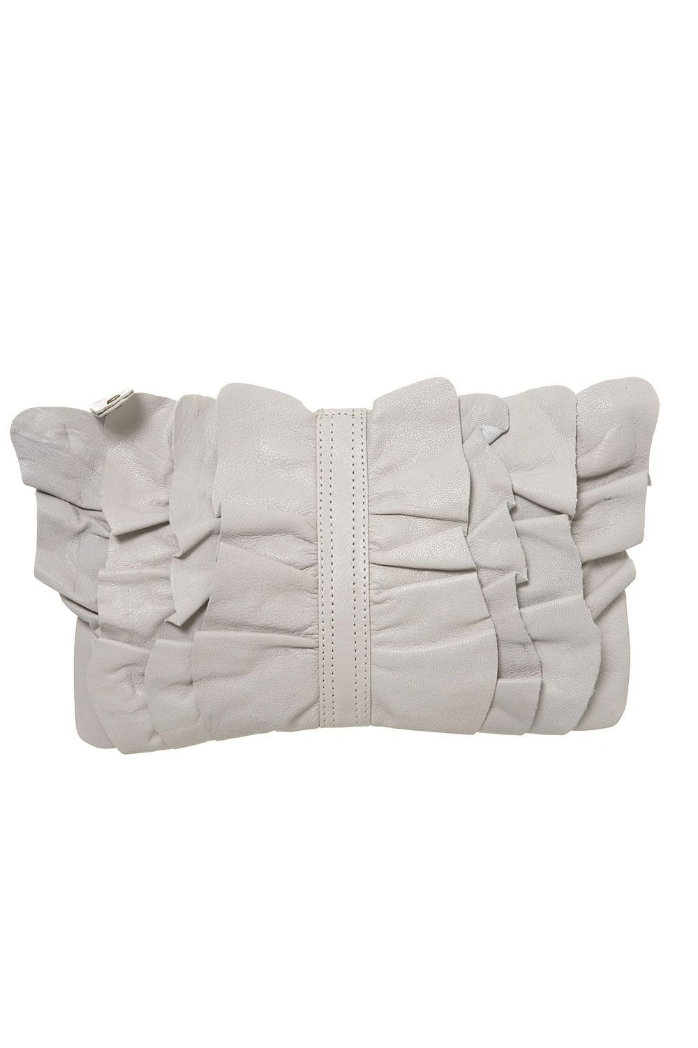 Warehouse Leather ruffle front clutch product image