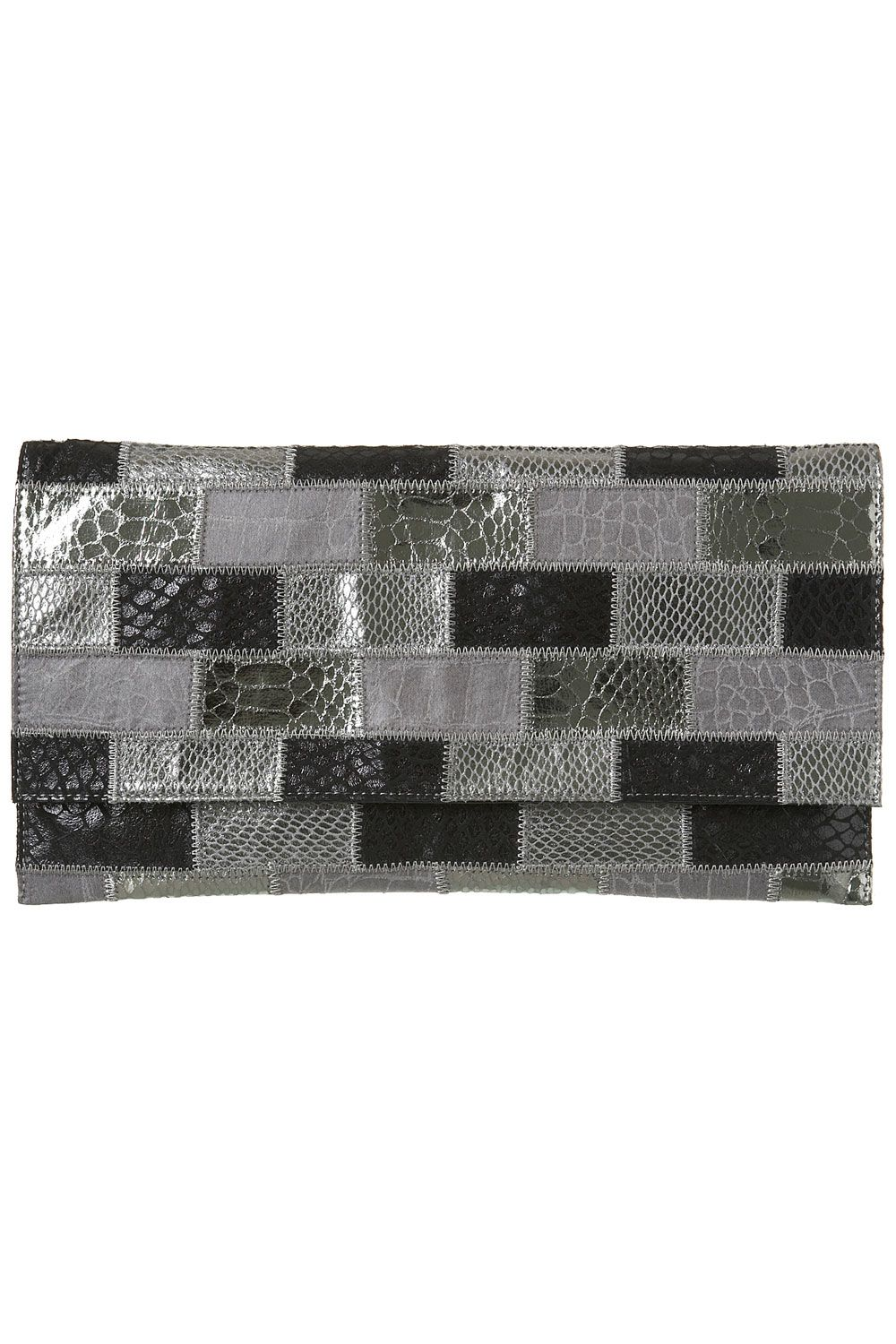 Warehouse Faux snake metallic patchwork clutch
