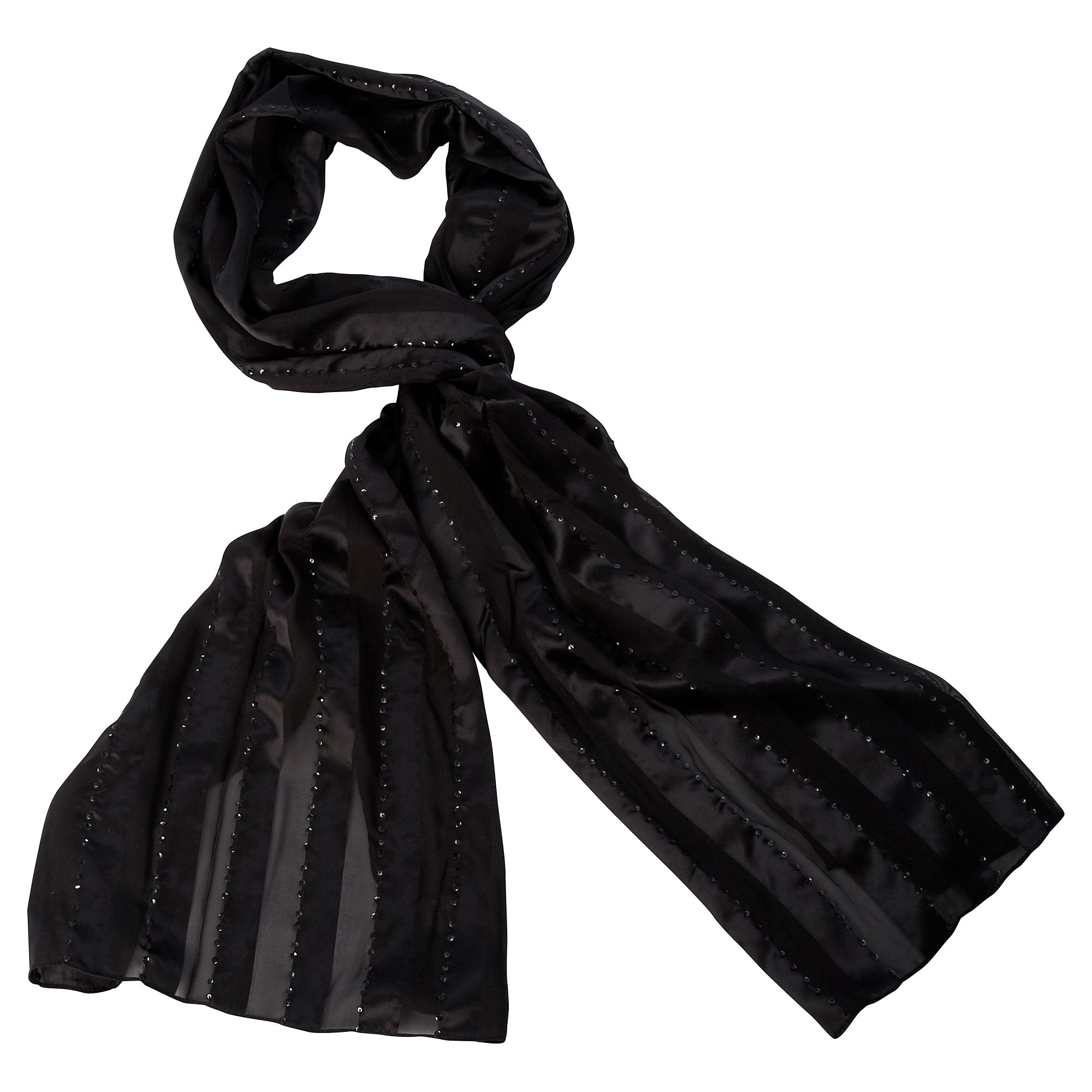 Stripe Sequin Scarf :  fashion black style scarf