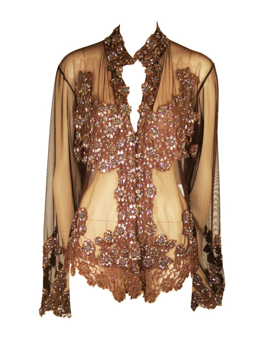 Aftershock Limca long sleeve beaded blouse