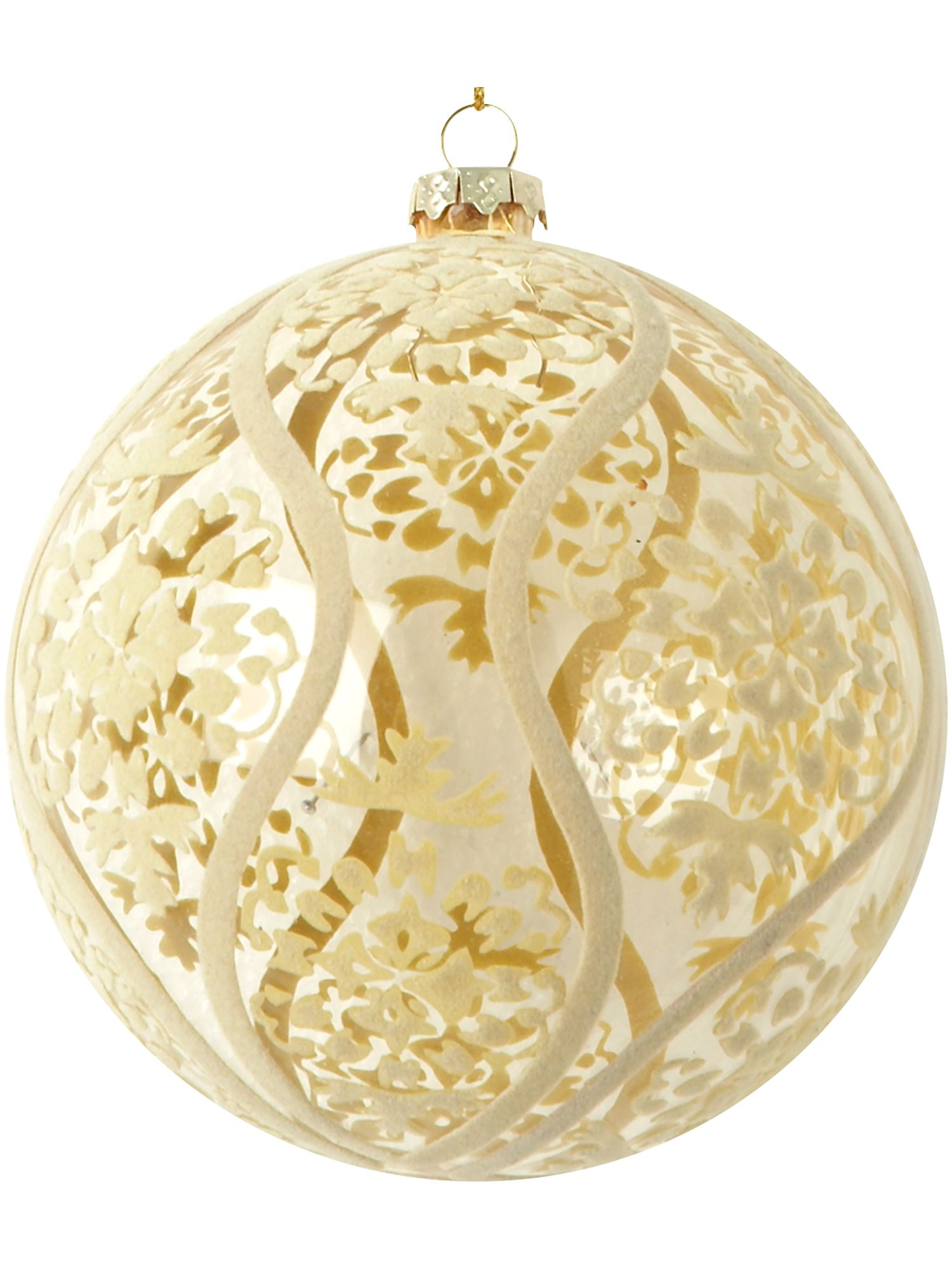 Renaissance cream clear flocked bauble