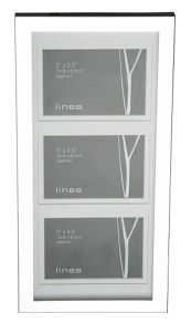 Linea Triple aperture modern silver plated photo frame