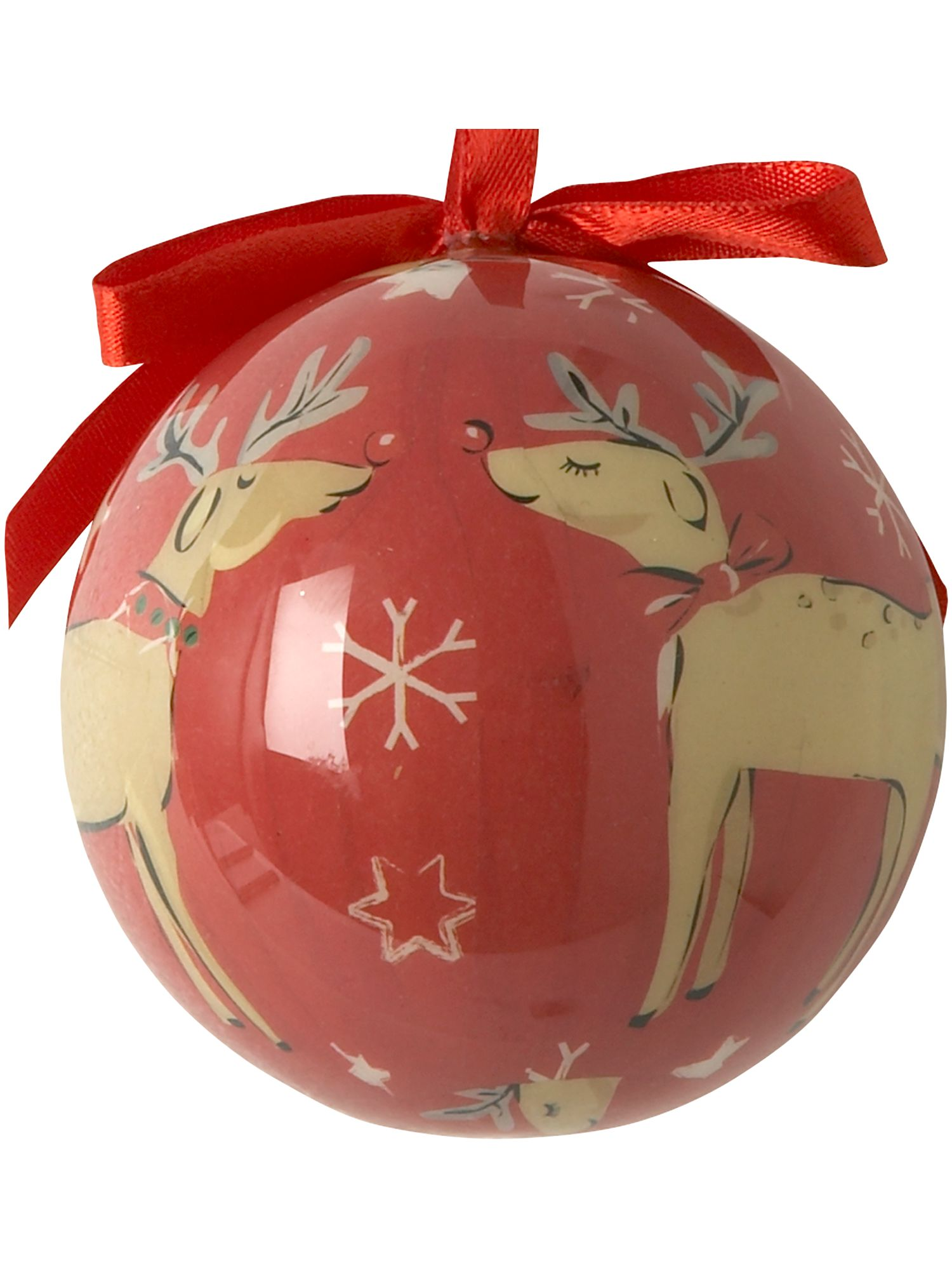Frosty reindeer decoupage bauble