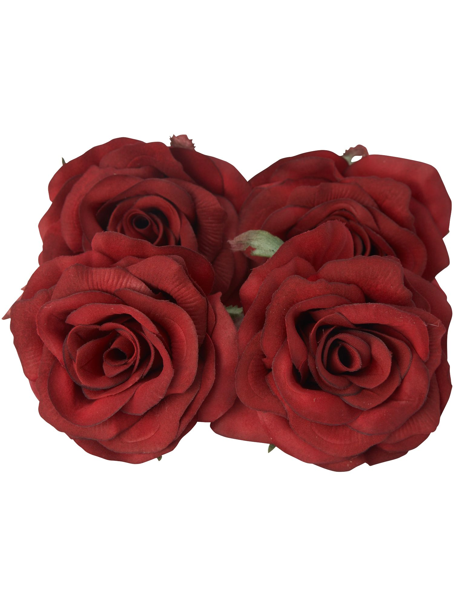 Set of four red rose clip decorations