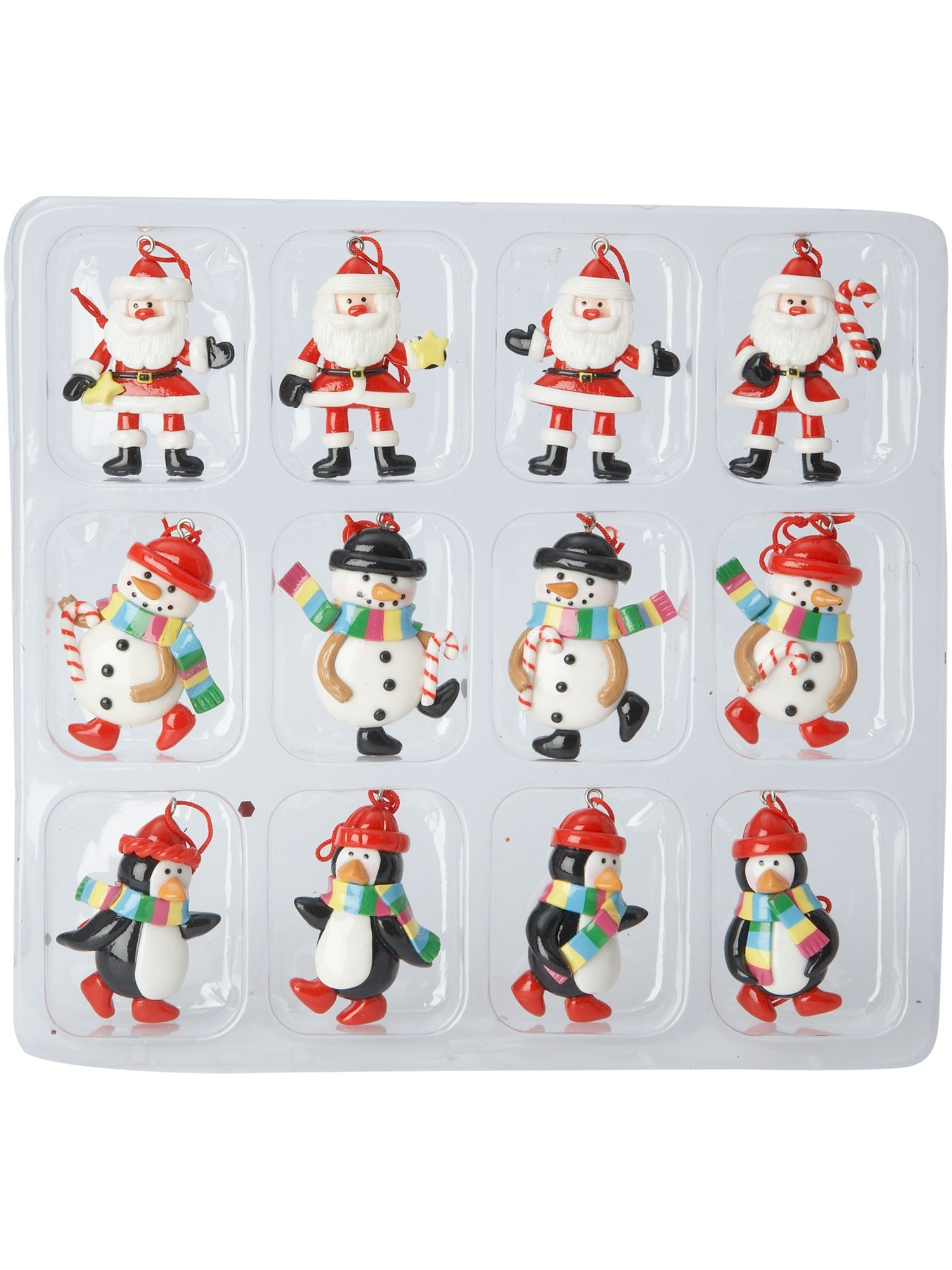 Frosty set of 12 polyresin decorations