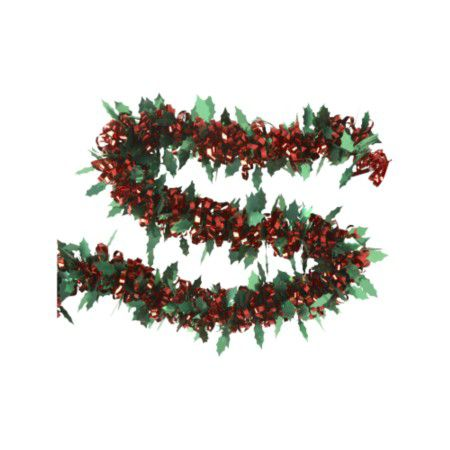 Nostalgia red and green holly loop tinsel