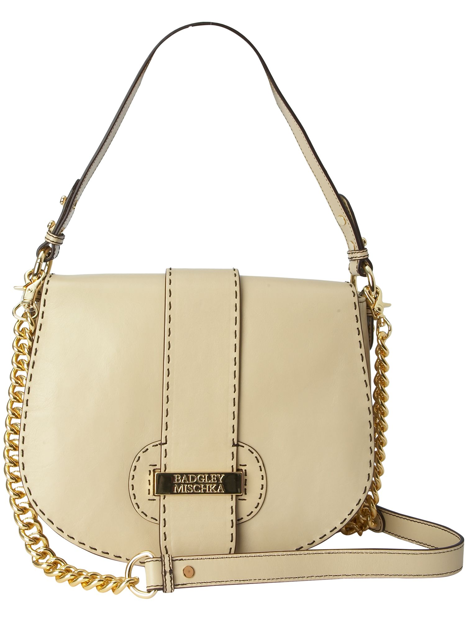Ally large leather flap over bag.