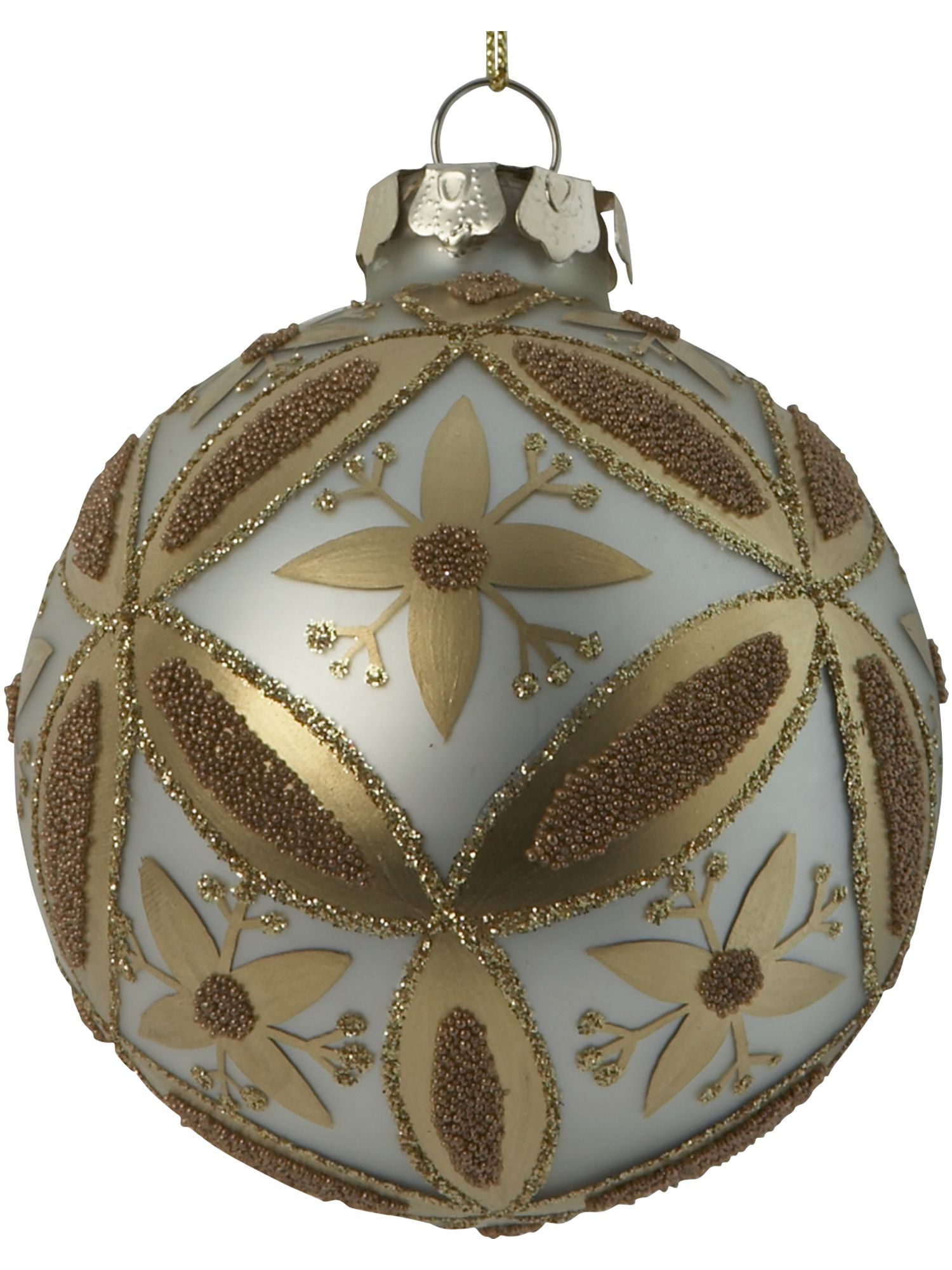 Renaissance gold tiled cream bauble