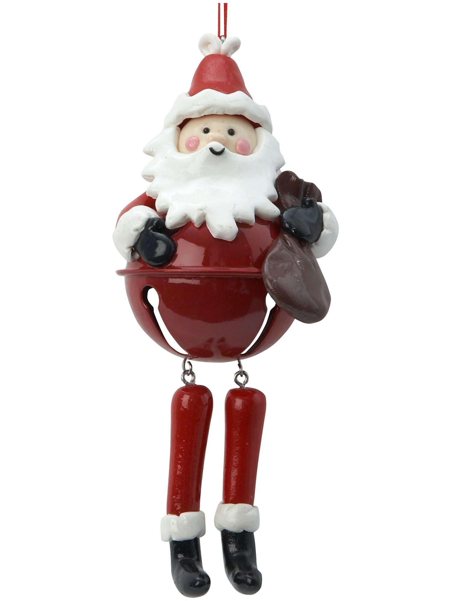 Frosty Santa bell with dangly legs