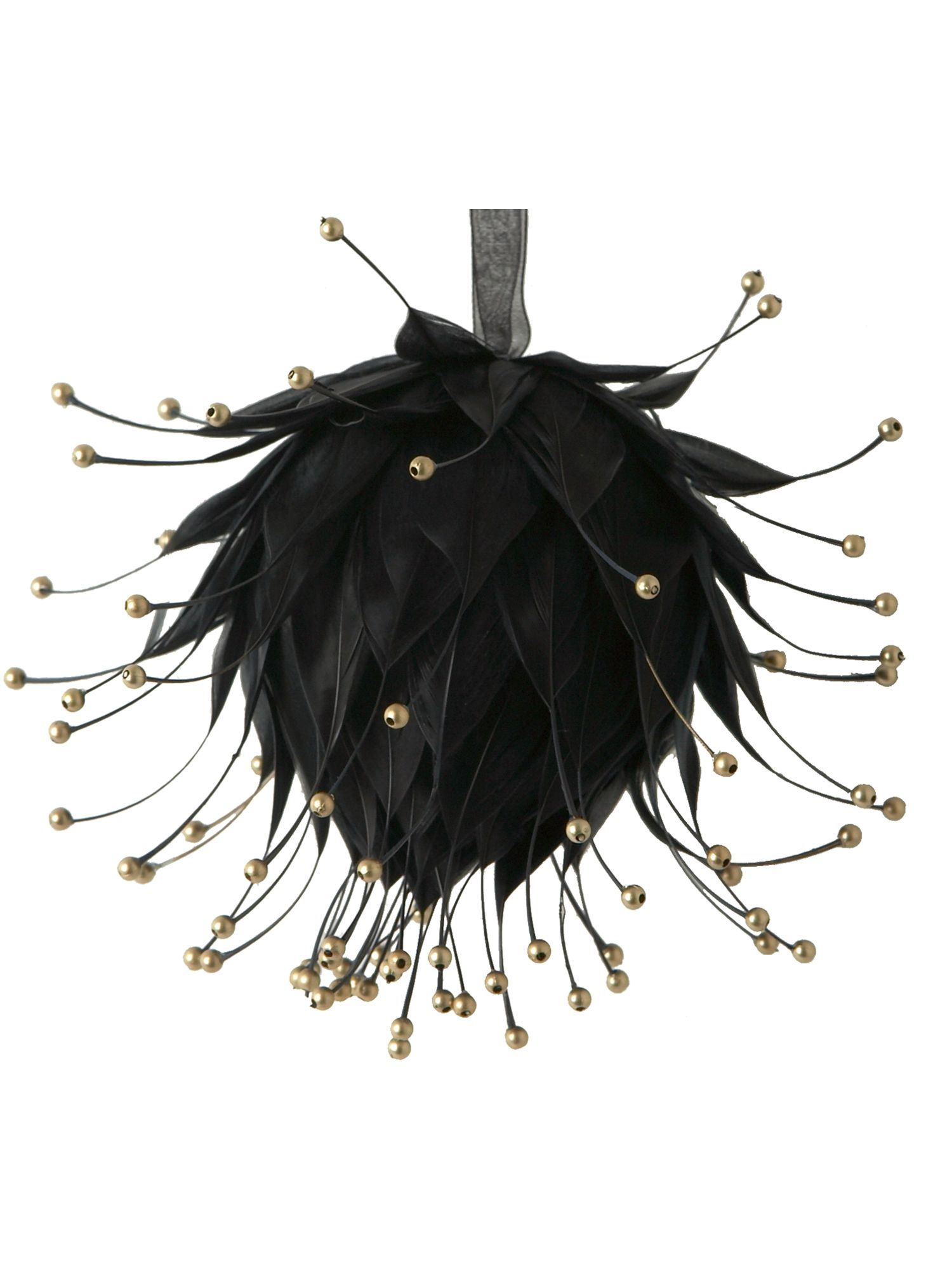 Renaissance beaded black feather ball