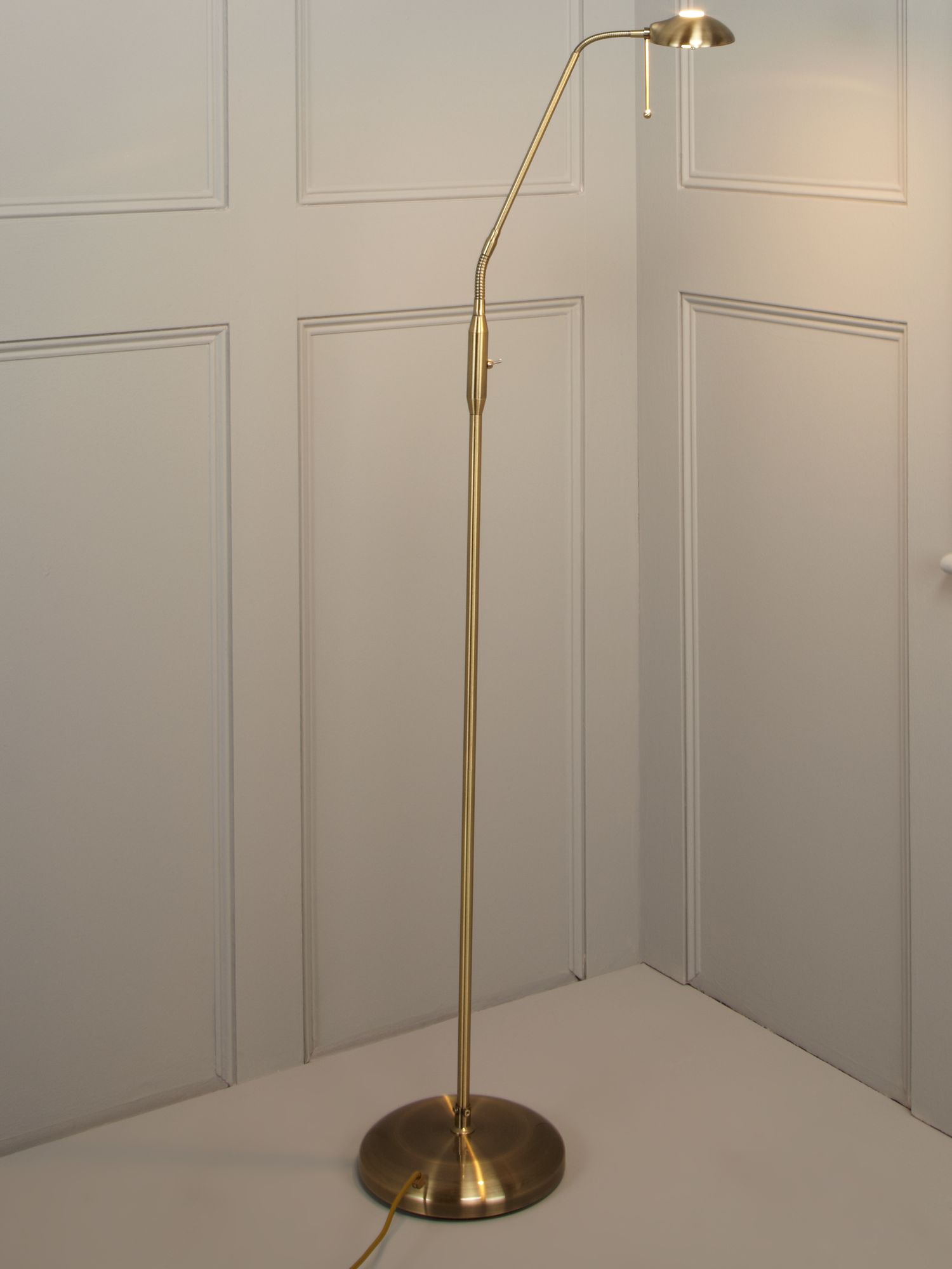 Halo antique brass floor lamp