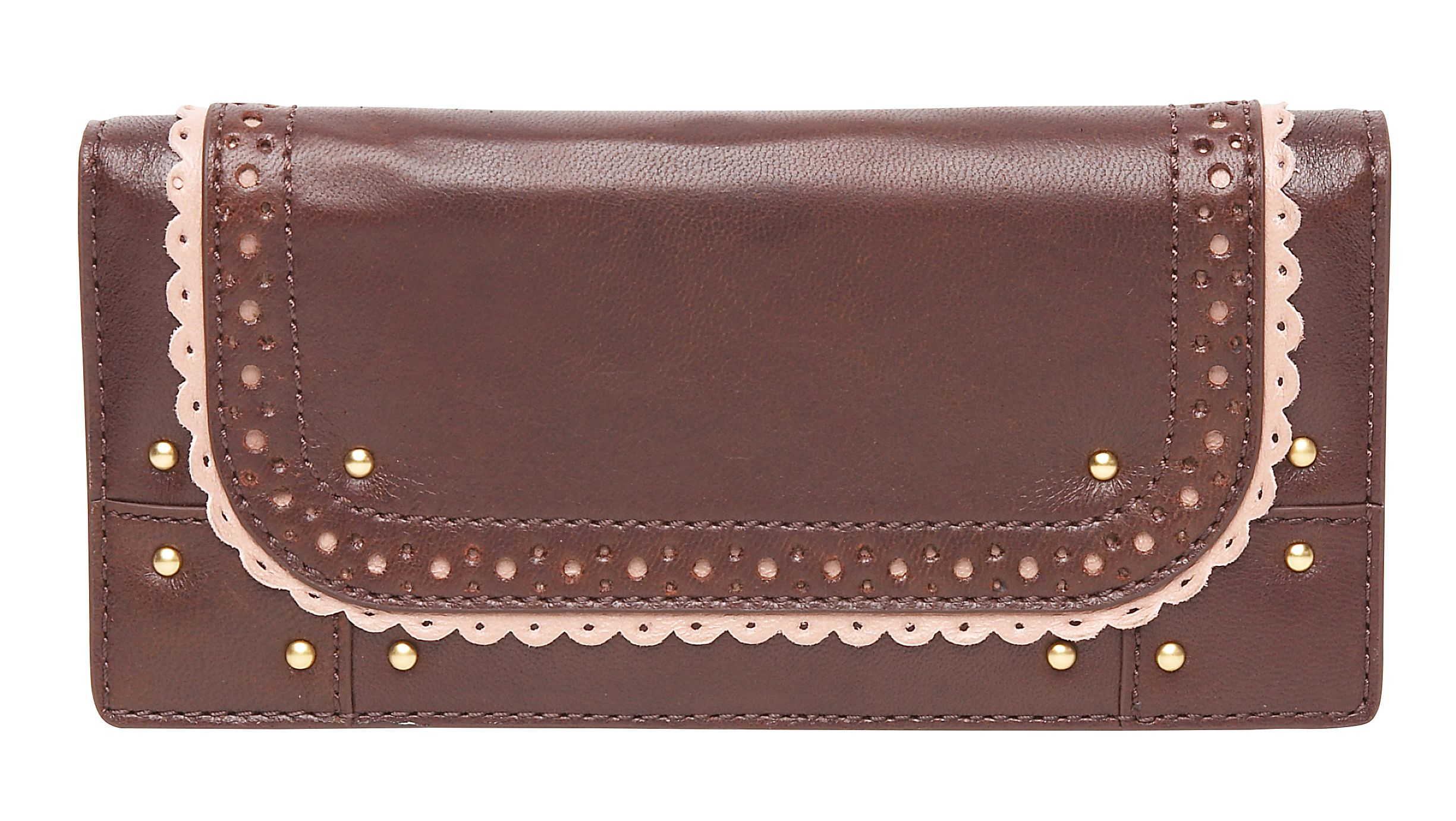 Brogue wallet with contrast colour leather