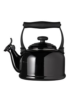Black traditional kettle with fixed whistle